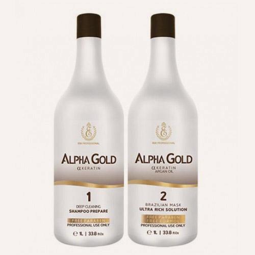 Нанопластика волос препаратами линейки Alfa Gold состоит из двух этапов: очищение и кератиновое запечатывание.